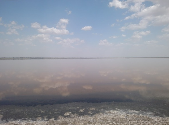 Clouds reflected in Sambhar Salt Lake, India