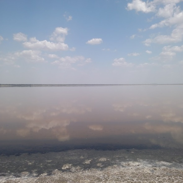 Clouds reflected in Sambhar Salt Lake, India